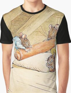 Mice rolling a cat by Beatrix Potter Graphic T-Shirt