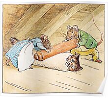 Mice rolling a cat by Beatrix Potter Poster
