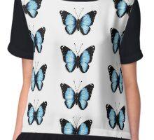 Blue Butterfly Chiffon Top