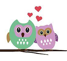 Owl couple Photographic Print