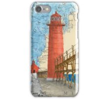 Grand Haven Lighthouse MI Nautical Map Cathy Peek iPhone Case/Skin