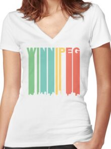 Retro Winnipeg Manitoba Canada Skyline Women's Fitted V-Neck T-Shirt