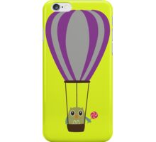 Owl in hot-air balloon with a lollipop iPhone Case/Skin