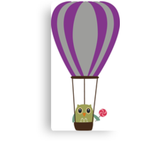 Owl in hot-air balloon with a lollipop Canvas Print