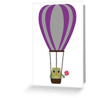 Owl in hot-air balloon with a lollipop Greeting Card