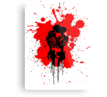 Skeleton Splatter Metal Print