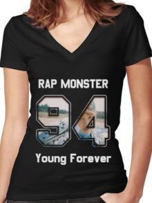 Young Forever - Rap Monster Women's Fitted V-Neck T-Shirt