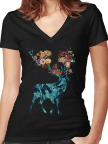 Spring Itself Floral Dark Women's Fitted V-Neck T-Shirt