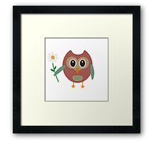 Coloured owl with a flower Framed Print