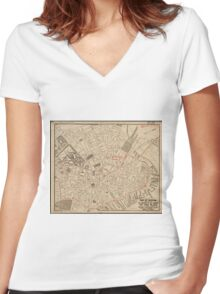 Vintage Map of Downtown Boston MA (1911) Women's Fitted V-Neck T-Shirt