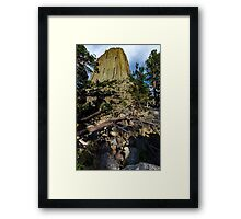 Devil's Tower with Trees Framed Print