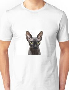 Beautiful sphynx cat with yellow eyes portrait on white background Unisex T-Shirt