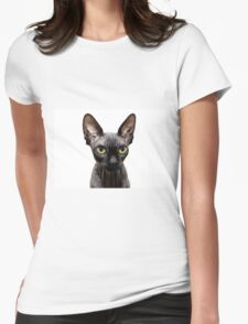 Beautiful sphynx cat with yellow eyes portrait on white background Womens Fitted T-Shirt