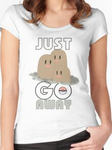 pokemon JUST GO AWAY dugtrio T-shirt JUST Women's Fitted Scoop T-Shirt