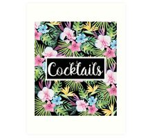 Cocktails Tropical Floral Art Print