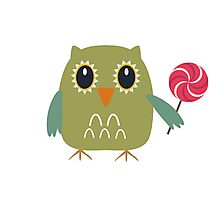 Coloured owl with a lollipop Photographic Print