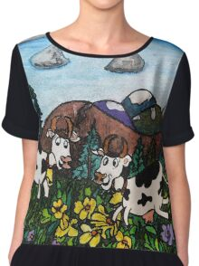 Running Cows Chiffon Top