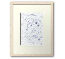 0602 - Complex and detailed Ornament in Blue Framed Print