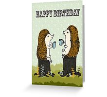 Happy Birthday - Hedgehogs Tea Party Greeting Card