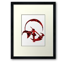 RWBY Ruby Rose Silhouette with Roses Framed Print
