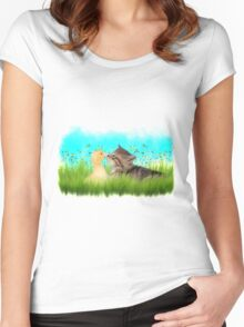 Cute Kitten and Duckling Women's Fitted Scoop T-Shirt