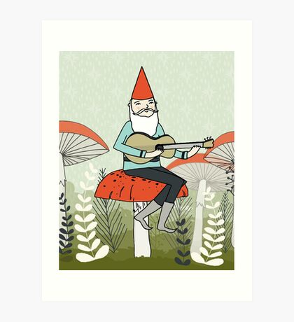 Gnome Plays Guitar by Paper Sparrow Art Print