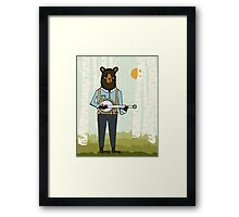 Banjo Bear by Paper Sparrow Framed Print