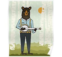 Banjo Bear by Paper Sparrow Poster