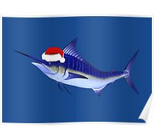 Blue Marlin In Christmas Mood Poster