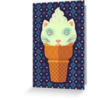 Strawberry-Mint Cat Greeting Card