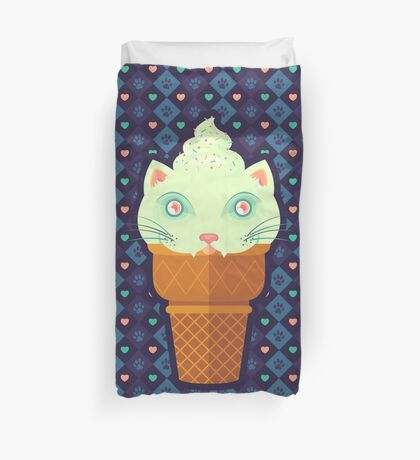 Strawberry-Mint Cat Duvet Cover