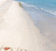 I Love City Breaks message written on sand, vacation concept Sticker