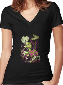 Nightmare Sesame Street Women's Fitted V-Neck T-Shirt