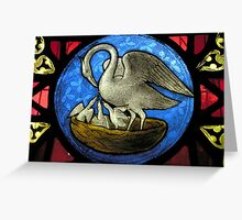 Pelican in Her Piety Stained Glass Window Greeting Card