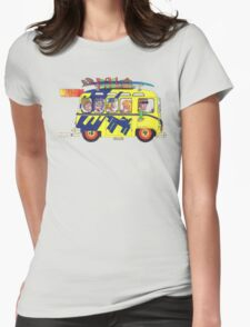 VW Camper. Surfs Up Dude. Womens Fitted T-Shirt