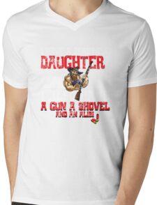 Hillbilly - I Have A Beautiful Daughter Black Distressed Variant Mens V-Neck T-Shirt