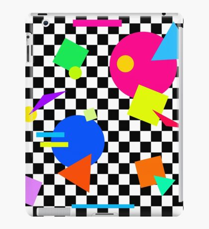Retro Shapes On Black & White Check - 80s 80's 1980s 1980's 1980 Classic Throw Back iPad Case/Skin
