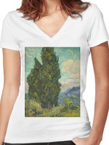 Trees by Vincent Van Gogh Women's Fitted V-Neck T-Shirt