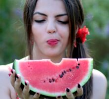 Pretty woman eating water-melon outdoor Sticker