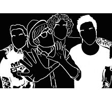 Fall Out Boy Tumblr Inspired Black and White Outline Photographic Print