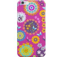 Flower circles and cute Butterflies case iPhone Case/Skin