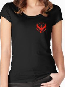 Pokemon Go | Team Valor | Black Background | Small | New! | High Quality! Women's Fitted Scoop T-Shirt