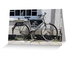 Vintage Bicycle with advertising sign for cafe. Greeting Card