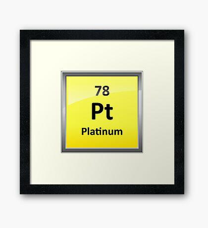 Platinum Periodic Table Element Symbol Framed Print