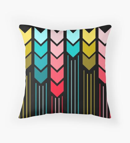 Modern Colorful Arrows Lines Pattern On Black Throw Pillow