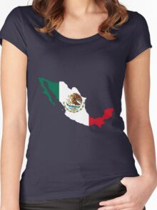 Mexico Flag Map Women's Fitted Scoop T-Shirt