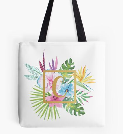 Tropical Floral With Gold Initial C Tote Bag