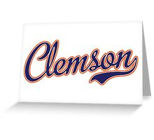 Clemson Script Blue  Greeting Card
