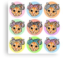 Pretty bow cat spot pattern Canvas Print