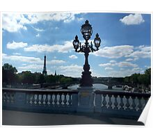 Paris with Eiffeltower and American church, view from Pont Alexander III Poster